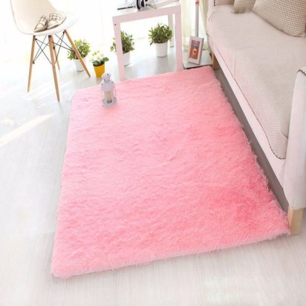 fluffy bedroom rugs Rectangle Soft Fluffy Rug Anti-Skid Shaggy Study Room