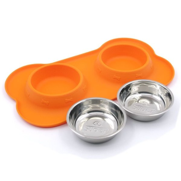 Double Dog Cat Food Bowls Set Pet Feeder With Spill