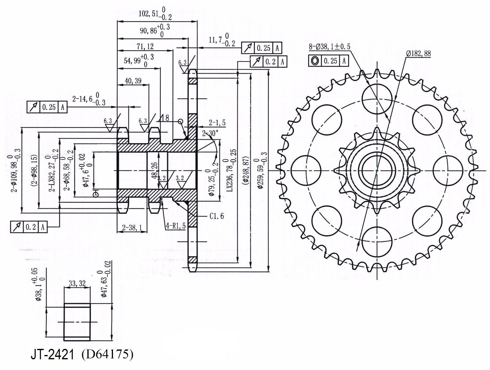 hight resolution of d76529 chain drive sprocket for case ih skid steer loader 1845c 1845 1845b 1845s
