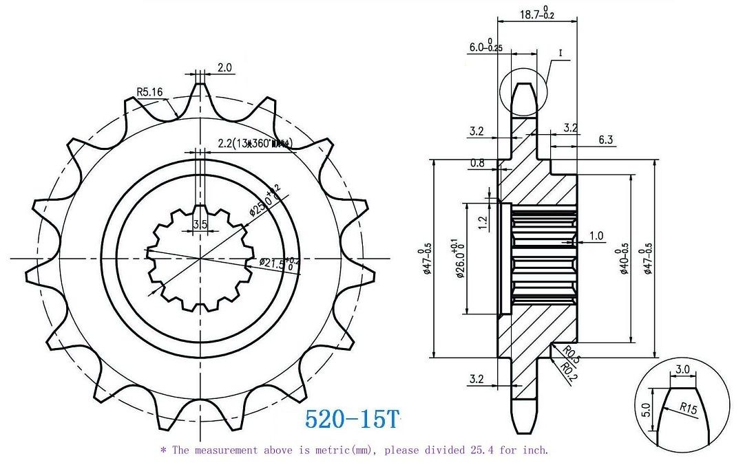 520 Motorcycle Front Sprocket 15 Tooth perfect for Dirt