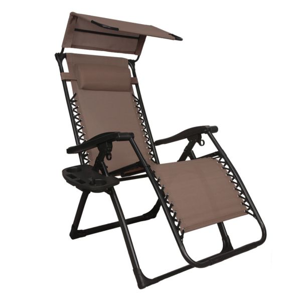 Gravity Chair Lounge Patio Chairs Outdoor With Canopy Cup Holder Rf