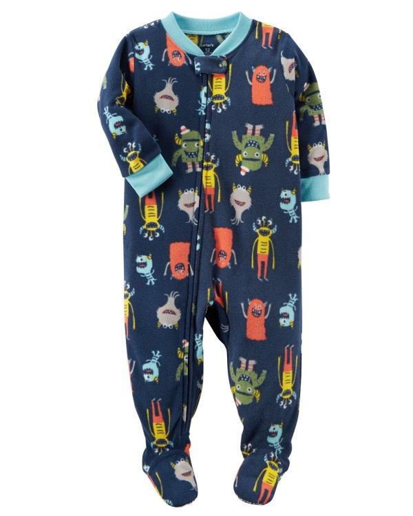 Carter' Baby Boys' 1 Piece Monster Fleece Pajamas 24