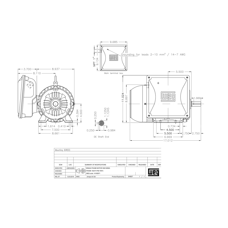 5HP Electric Motor 184T Frame 3600 RPM Single Phase WEG