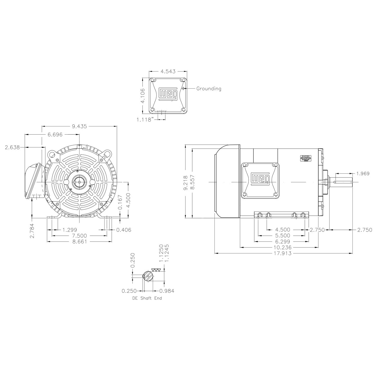 5Hp Electric Motor 184T Frame 3500 Rpm Three Phase WEG