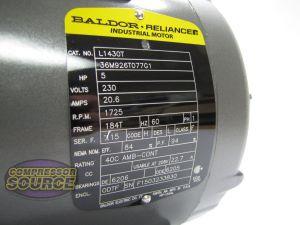 5 HP Single Phase Baldor Electric Compressor Motor 184T Frame # L1430T 230 Volt 685650062129 | eBay
