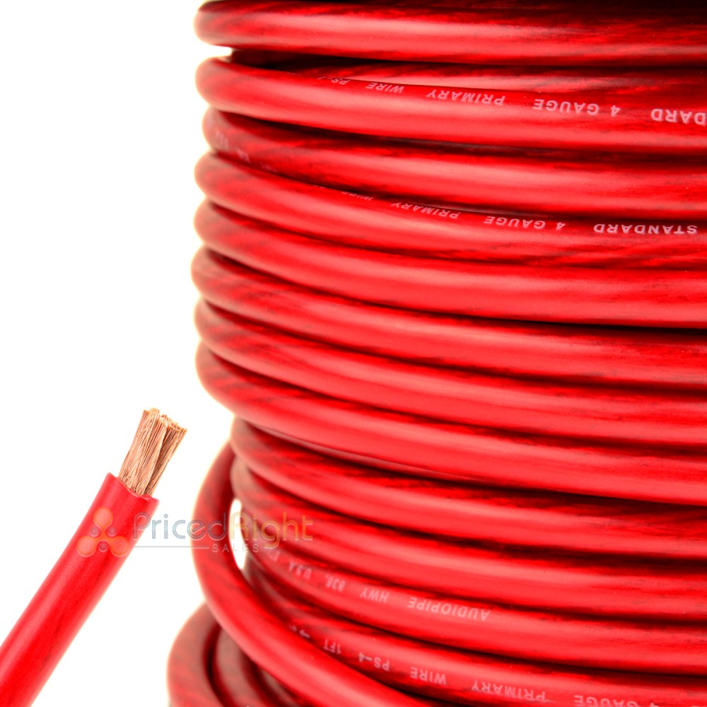 medium resolution of details about 25 ft 4 gauge red power wire super flexible cable car audio ground stranded