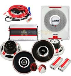 details about ds18 complete speaker package 6 5 speaker set 8 sub tweeters crossover amp sq4 [ 1200 x 1200 Pixel ]