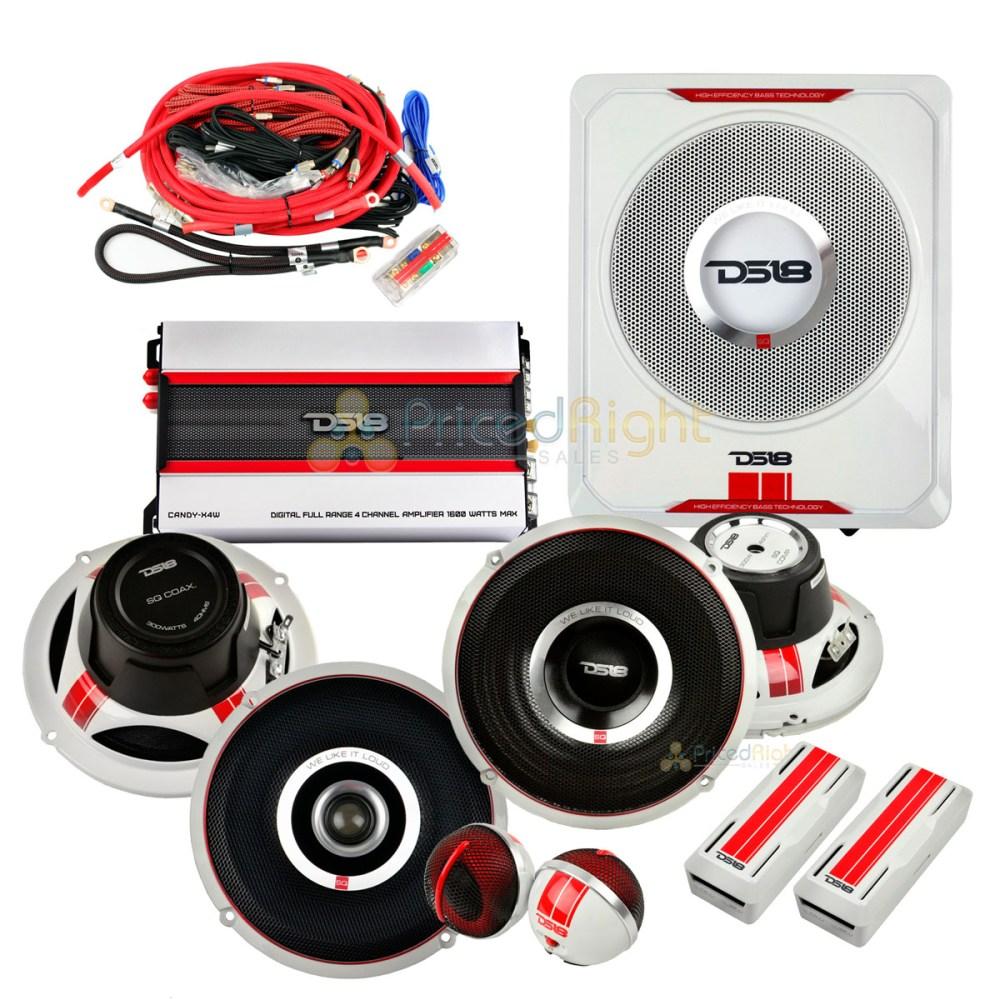 medium resolution of details about ds18 complete speaker package 6 5 speaker set 8 sub tweeters crossover amp sq4