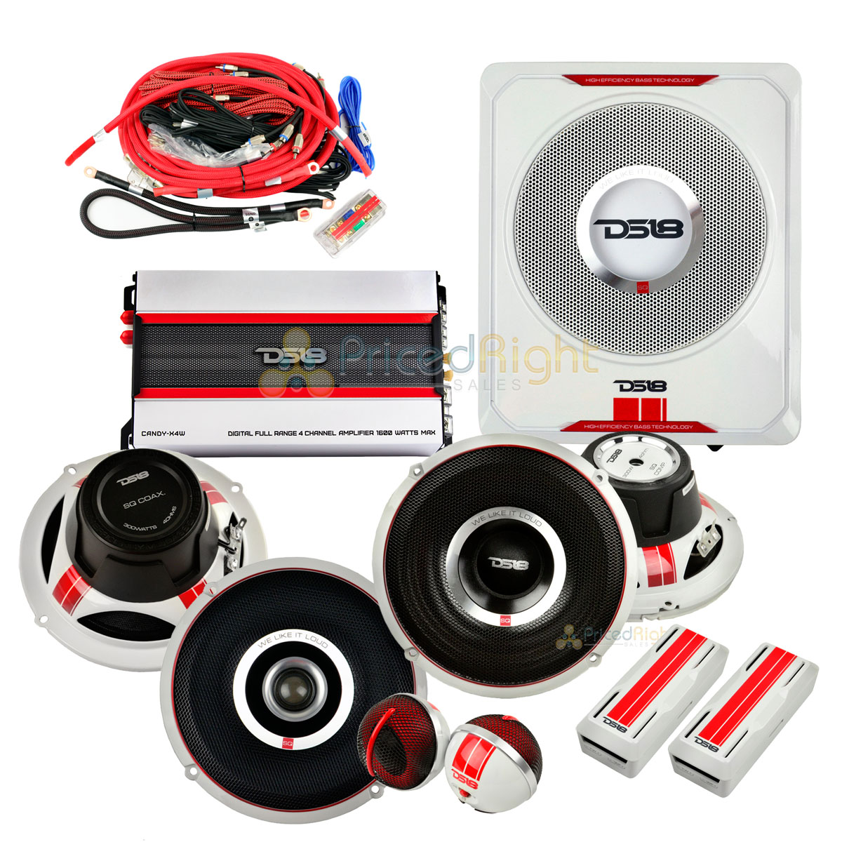 hight resolution of details about ds18 complete speaker package 6 5 speaker set 8 sub tweeters crossover amp sq4