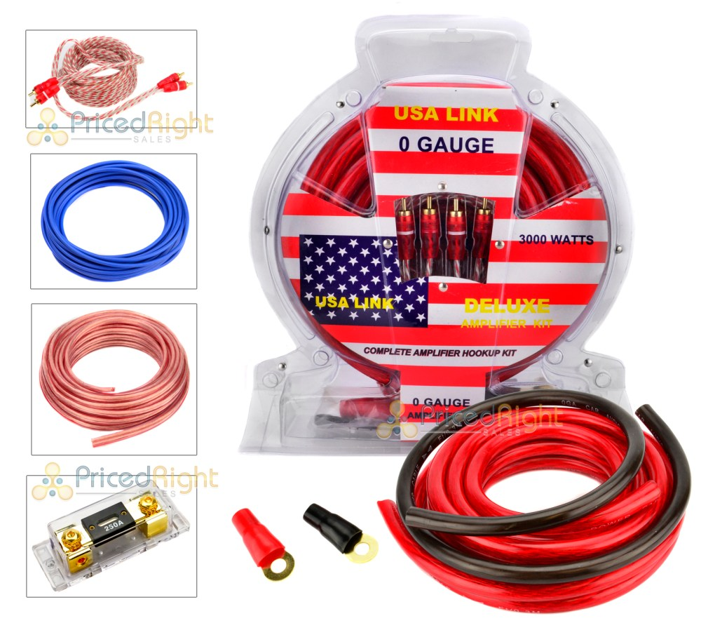 medium resolution of 0 gauge 3000w car amplifier wiring installation power kit amp 0 ga pack usa link