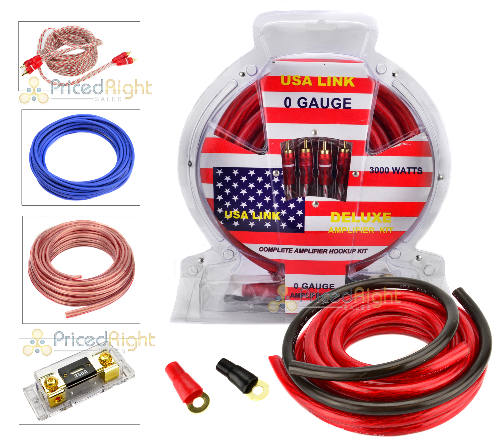 hight resolution of 0 gauge 3000w car amplifier wiring installation power kit amp 0 ga pack usa link