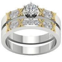 I1/G Bridal Wedding Ring Set Band 1.00Ct Round Diamond