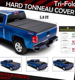 lock tri fold hard tonneau cover for 2014 2018 chevy silverado 5 8 ft short bed [ 1200 x 1200 Pixel ]