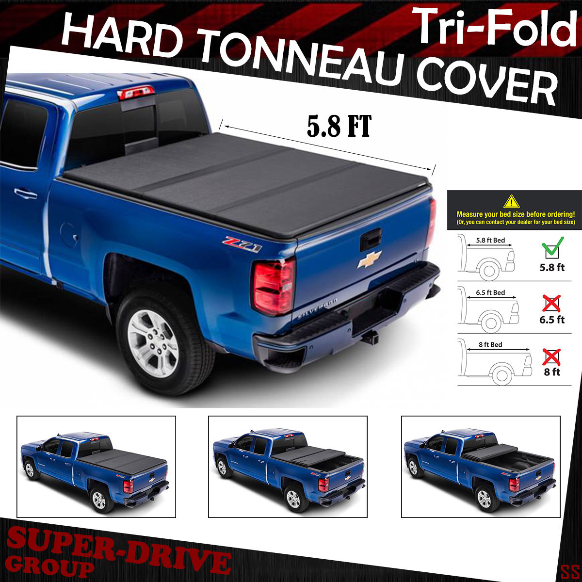 hight resolution of lock tri fold hard tonneau cover for 2014 2018 chevy silverado 5 8 ft short bed