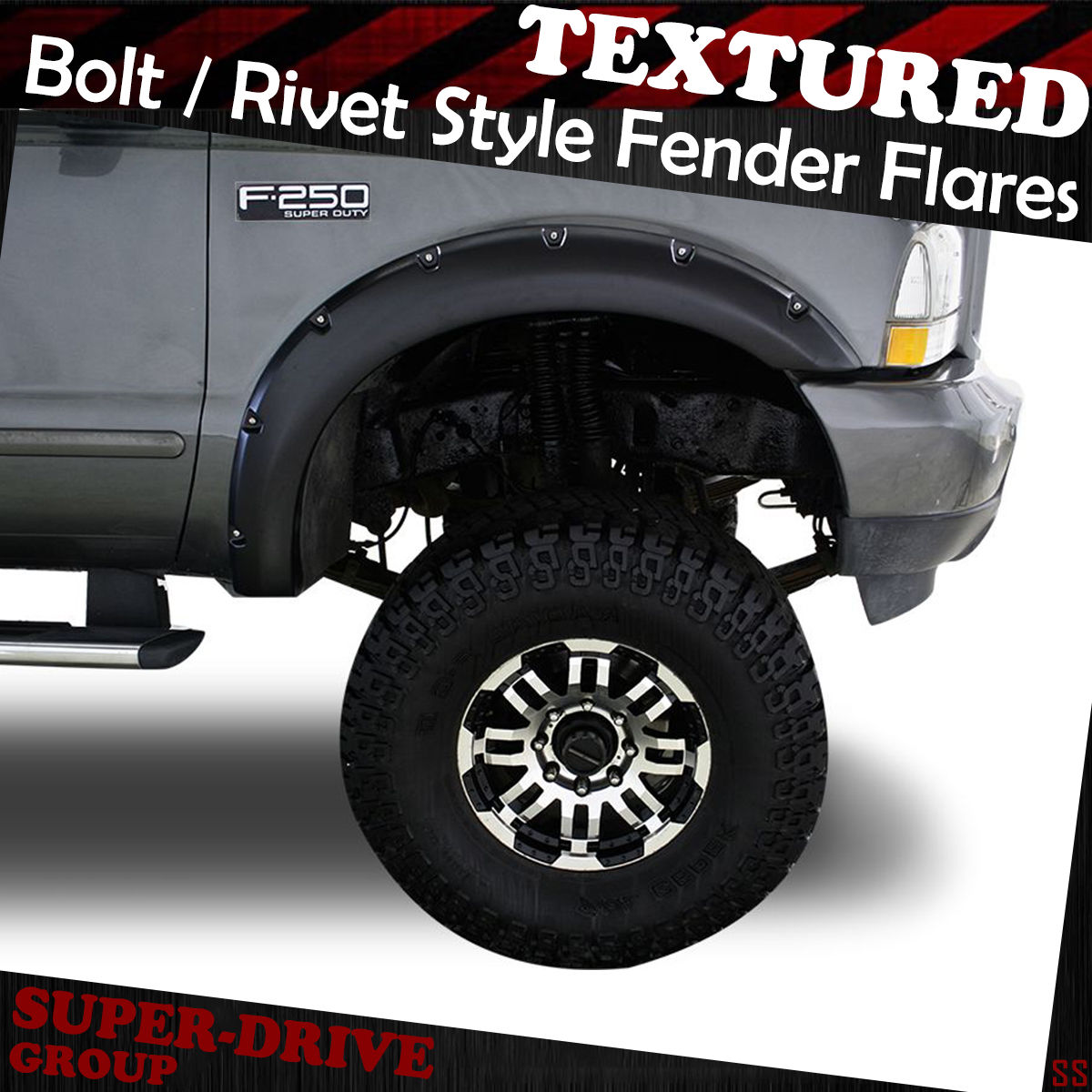 hight resolution of pocket riveted black textured fender flares for 99 07 ford f 250 f350 super duty