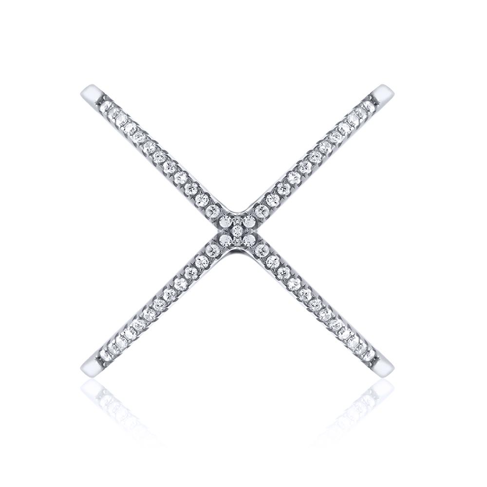 925 Sterling Silver White CZ Criss-Cross Single