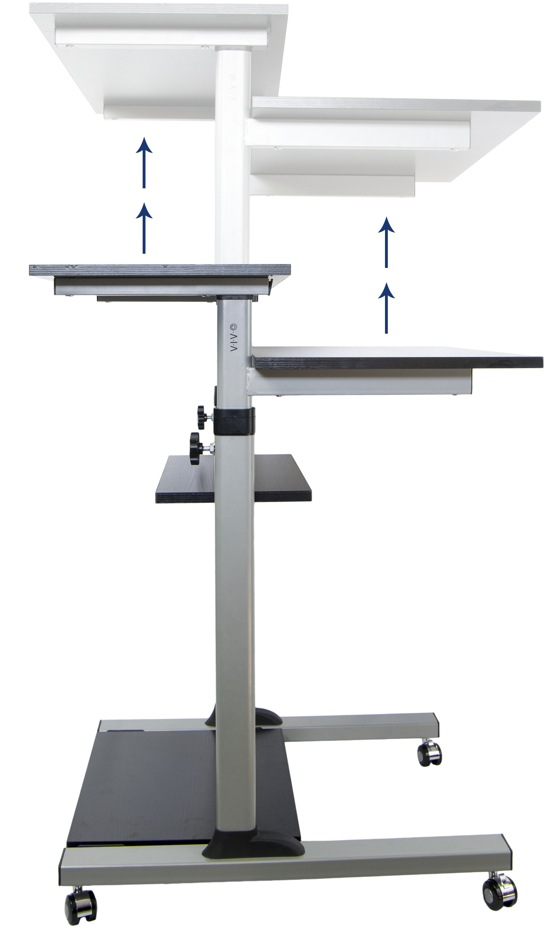 Mobile Height Adjustable Stand Up Desk Computer Work