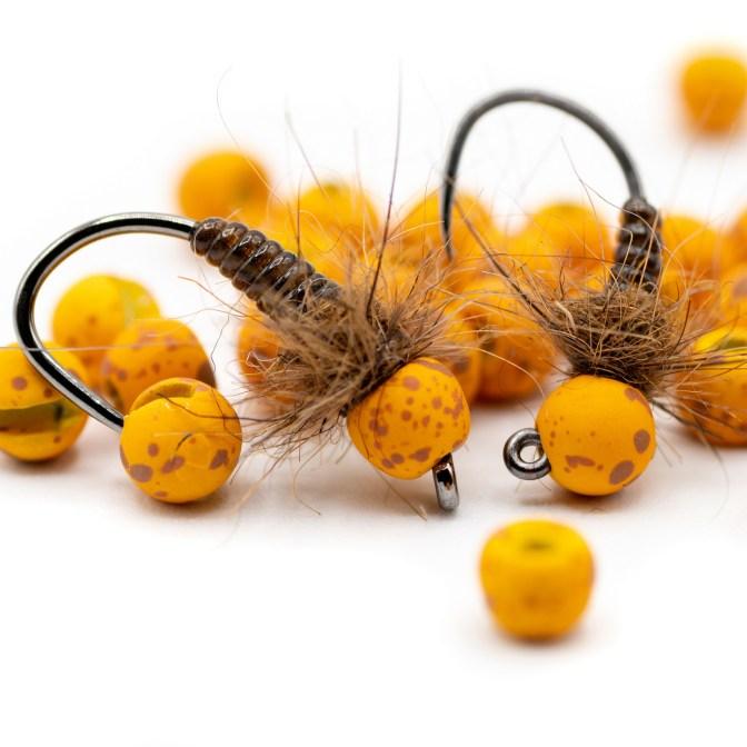 3 Tungsten Beaded Yellow Flash Orange Bodied Nymphs