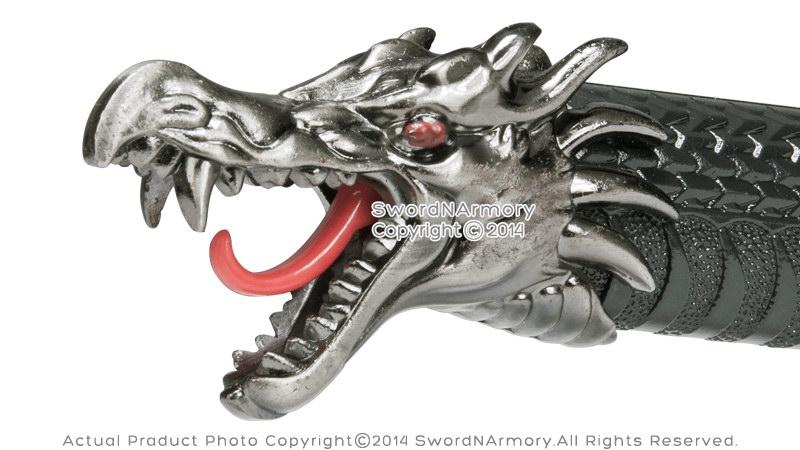 katana kitchen knife remodel houston black torch dragon fantasy samurai sword with four ...