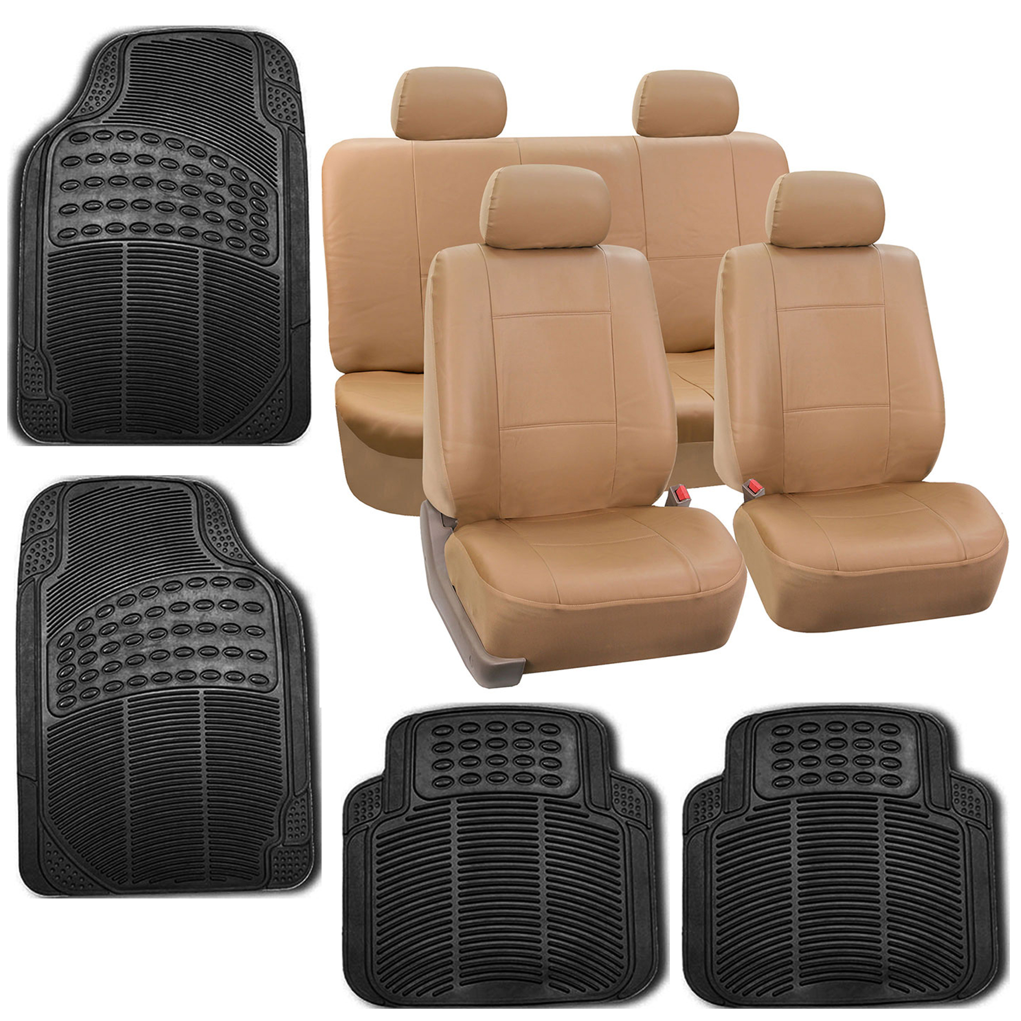 faux leather gripper chair cushions thrive nixon tan black car seat cover set headrests floor