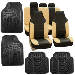Faux Leather Gripper Chair Cushions High End Folding Chairs Beige Black Car Seat Cover Set Headrests