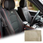 Car Suv Truck Leatherette Seat Covers Front Bucket Black W Dash Mat For Suv Ebay