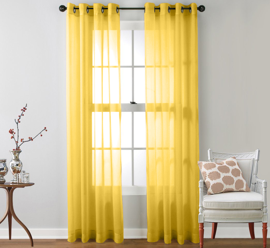 2 Piece Sheer Window Curtain Grommet Panels