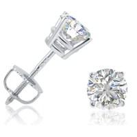 1ct tw Diamond Stud Earrings in 14K White Gold Screwbacks ...