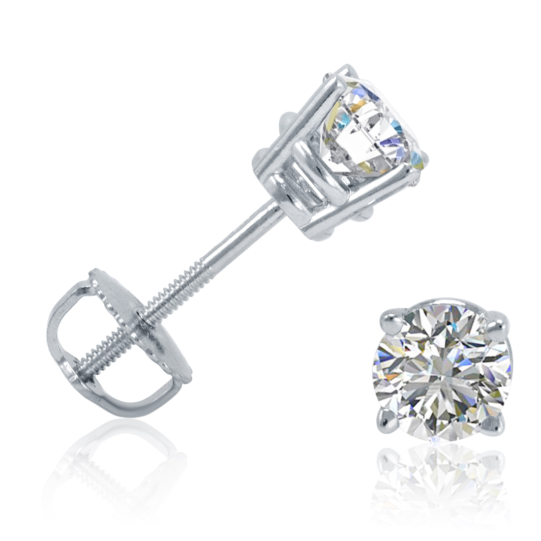1/2ct Diamond Stud Earrings in 14K White Gold Screw-Back