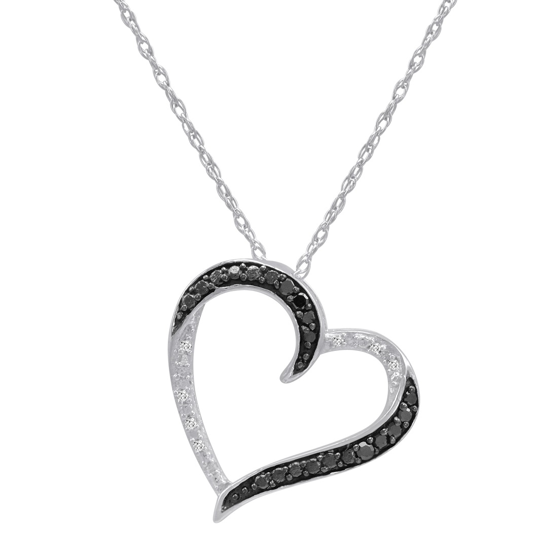 Black And White 1 10ct Tw Diamond Heart Pendant Necklace