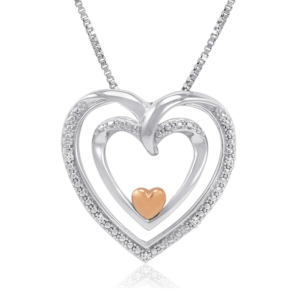 Sterling Silver And 14k Gold Diamond Heart Pendant