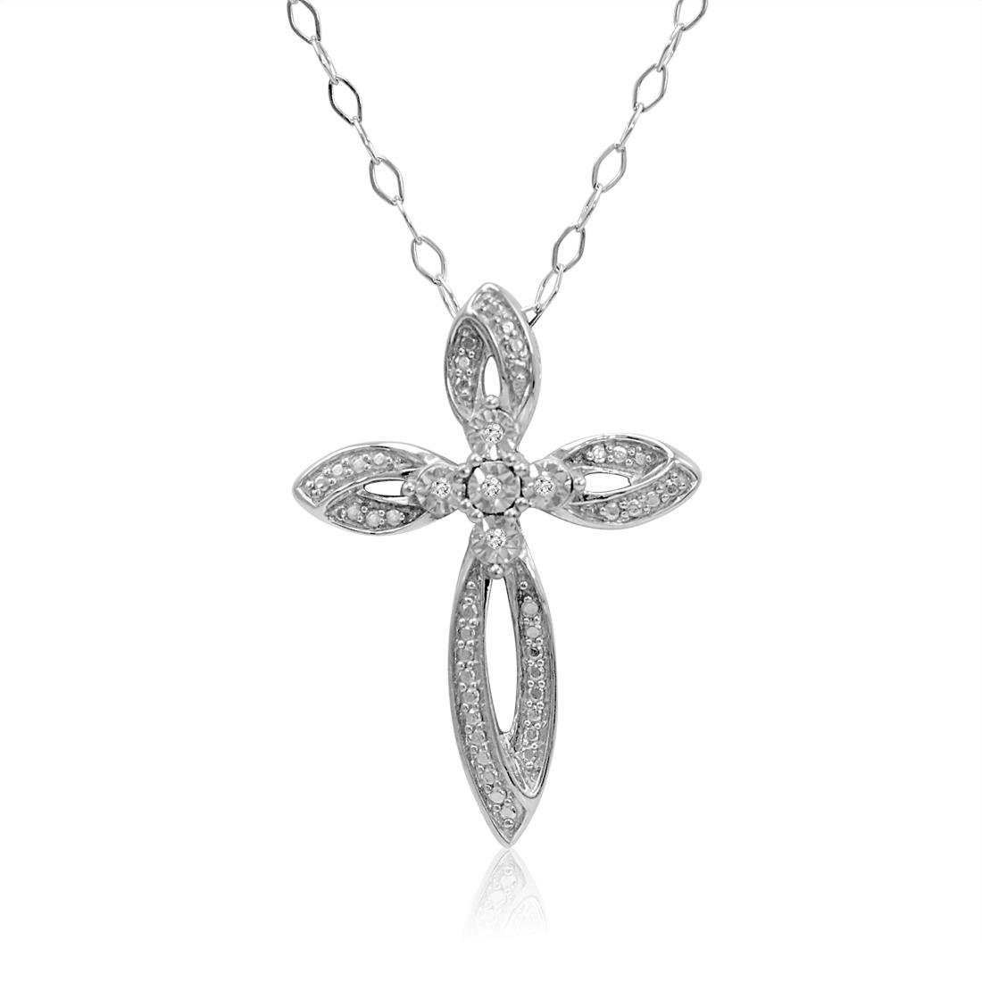 925 Sterling Silver Diamond Cross Pendant Necklace Igi