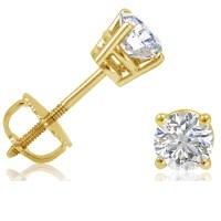 1/2ct tw Round Diamond Stud Earrings set in 14K Yellow ...