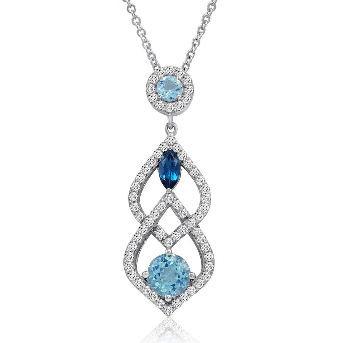 Sofia Vergara Designer Blue And White Topaz Pendant In