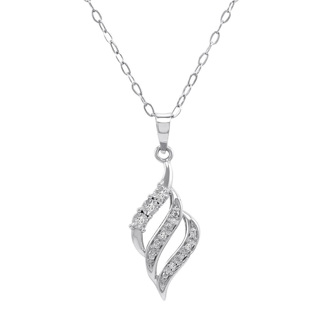 Diamond Swirl Pendant Necklace In 925 Sterling Silver