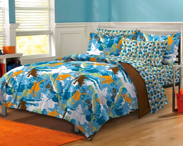 Extreme Sports Blue Teen Boys Bedding Comforter Sheet Set Twin Xl