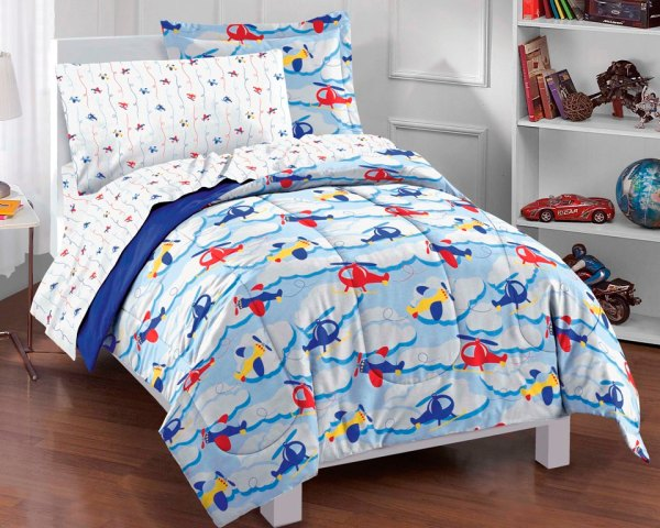 Planes And Clouds Blue Boys Bedding Comforter Sheet Set Twin