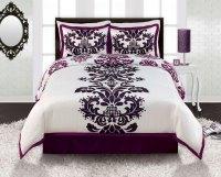 Purple White Black Damask TWN FULL/QUEEN KING Comforter ...