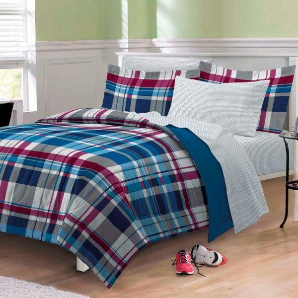 Varsity Plaid Teen Boys Bedding Comforter Sheet Set Twin Xl