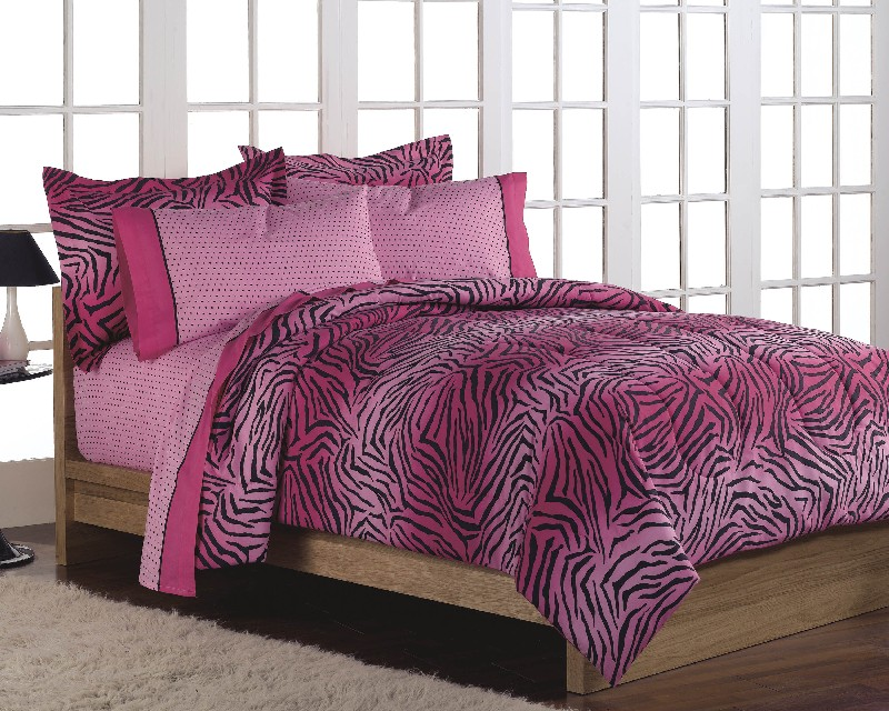 NEW Girls Teen Hot Pink Zebra Animal Print Twin Comforter