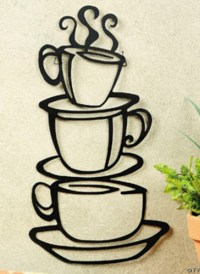 Metal Hanging stacked COFFEE CUP kitchen Wall Decor | eBay