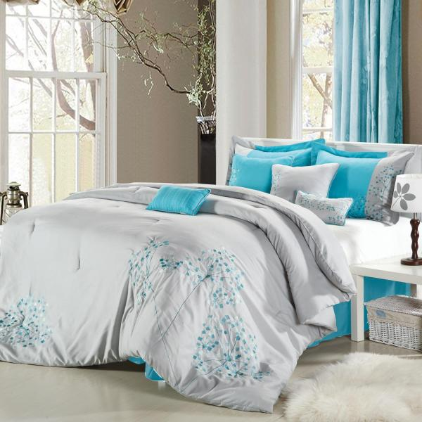 Pink Floral Gray Turquoise & Silver 8 Piece King Comforter Bed In Bag Set