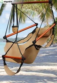 DELUXE HANGING AIR SKY SWING HAMMOCK CHAIR OUTDOOR TAN | eBay