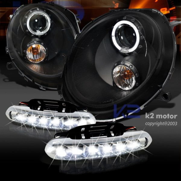 Black 07-12 Mini Cooper Halo Projector Headlights Withled