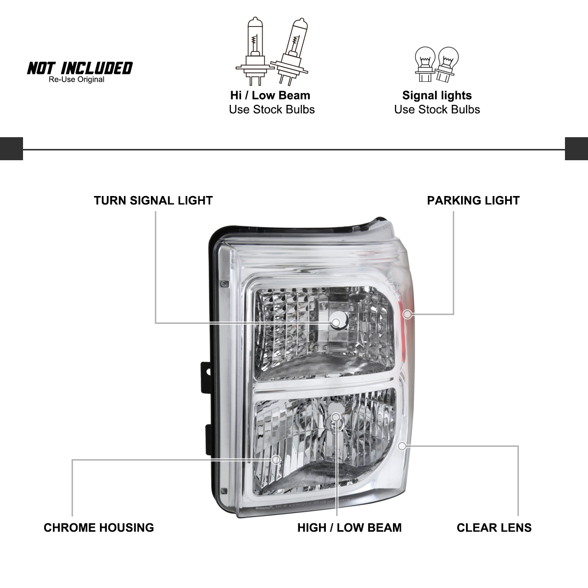 For Ford F250 F350 F450 Super Duty Headlights W