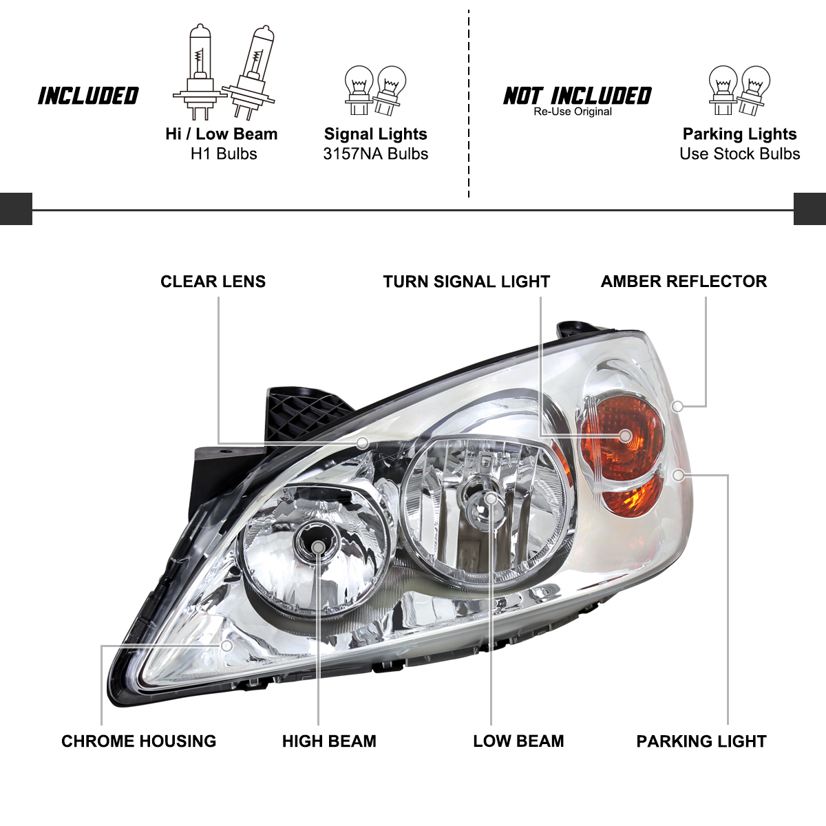 For 2005-2010 Pontiac G6 Headlights Turn Signal Parking
