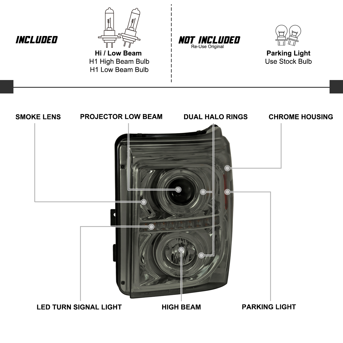 For Smoke Ford F250 F350 F450 F550 Led Dual Halo