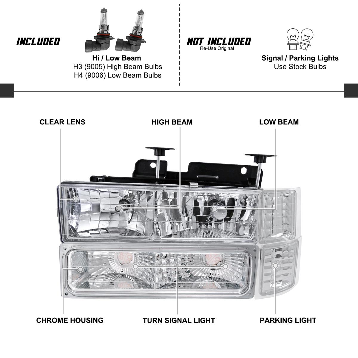 For 1994-1998 Chevy C10 C/K Tahoe Suburban Headlights+Turn