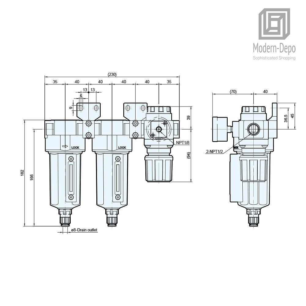 M Mindman 5 & 0.3 Micron Filter Air Pressure Regulator