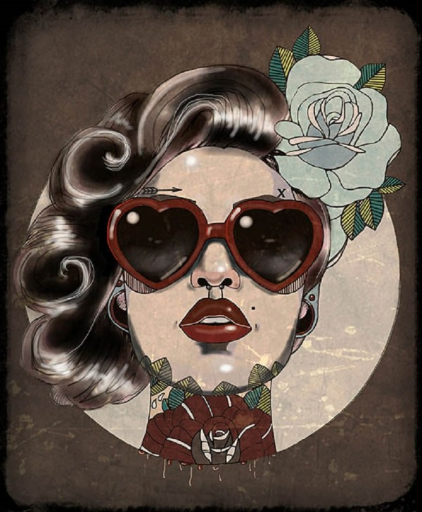 Glam Amy Dowell Rockabilly Retro Tattooed Woman Heart